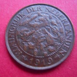 Wilhelmina - 1 Cent 1919. XF !!! Bronze KM152 (3942)