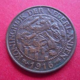 Wilhelmina - 1 Cent 1916. XF !!! Bronze KM152          (3939)