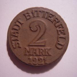 Bitterfeld , 2 Mark 1921.  Schocolade braun , sehr selten !!! Meissner Ofen- & Porzellanfabrik 32mm Sch502 ? - RR !!! (14904)