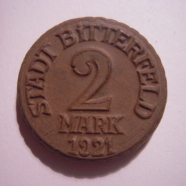 Bitterfeld , 2 Mark 1921.  Chocolade kleurig , zeer zeldzaam !!! Meissner Ofen- & Porzellanfabrik 32mm Sch502 ? - RR !!! (14904)