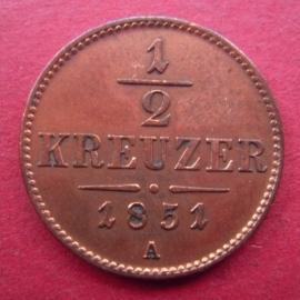 Franz Joseph I , ½ Kreuzer 1851 A       ANK2/KM2181 (6635)