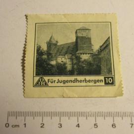 1936-5-16/17 German Youth Hostels donation gift. Picture vignette 10 Pfennig - Youth hostel castle T415 (16379)