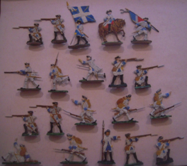 1760 French infantry , 20x flat 30mm scale. Droste / Kieler Zinnfiguren (15613)