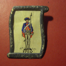 1938-02-5/6 German WHW donation pin. Uniform and history - Prussian musketeer 1750. Woven fabric in metal frame  T111 (7044)