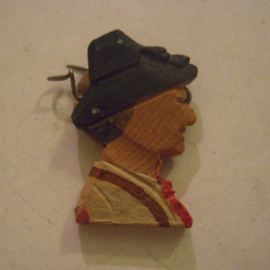 1936 Spring German VDA donation pin.  Traditional costumes - Man , black hat . Wooden T097  (14119)