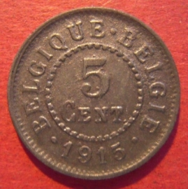 Belgium - WWI German occupation , 5 Cent 1915  Zn J608/KM80 (9923)