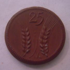 Münsterberg / Ziebice (POL) ,  25 Pfennig 1921. Meissen Porzellan 24mm Sch200a - III (16123)