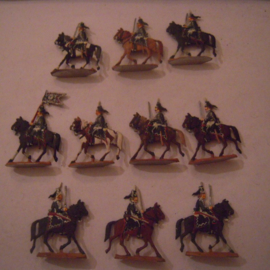 1744 Prussian Ruesch or black hussars , 10x flat 30mm scale. Kieler Zinnfiguren (15635)