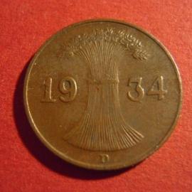 Third Reich - 1 Reichspfennig 1934 D. Bronze J313/KM37 (4346)