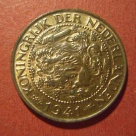Wilhelmina - 1 Cent 1941. Unc !!! Bronze KM152 (7307)