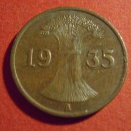 Third Reich - 1 Reichspfennig 1935 A. Bronze J313/KM37          (4347)