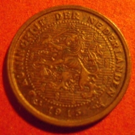 Wilhelmina -  ½ Cent 1915. XF !!! Bronze KM138 (7299)