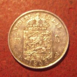 Wilhelmina  , 1/10 Gulden 1908 !!!    KM309 (11478)