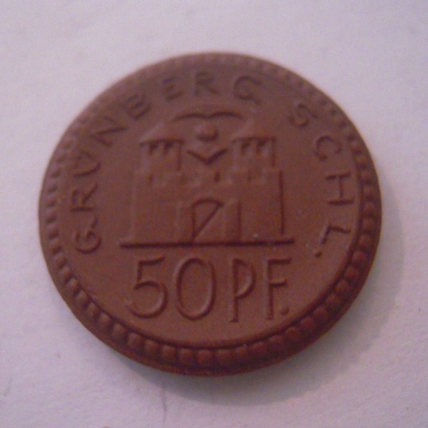 Grünberg / Zielona Gora (POL) ,  50 Pfennig1921. Meissen Porcelain 22mm Sch137/a - I (16125)