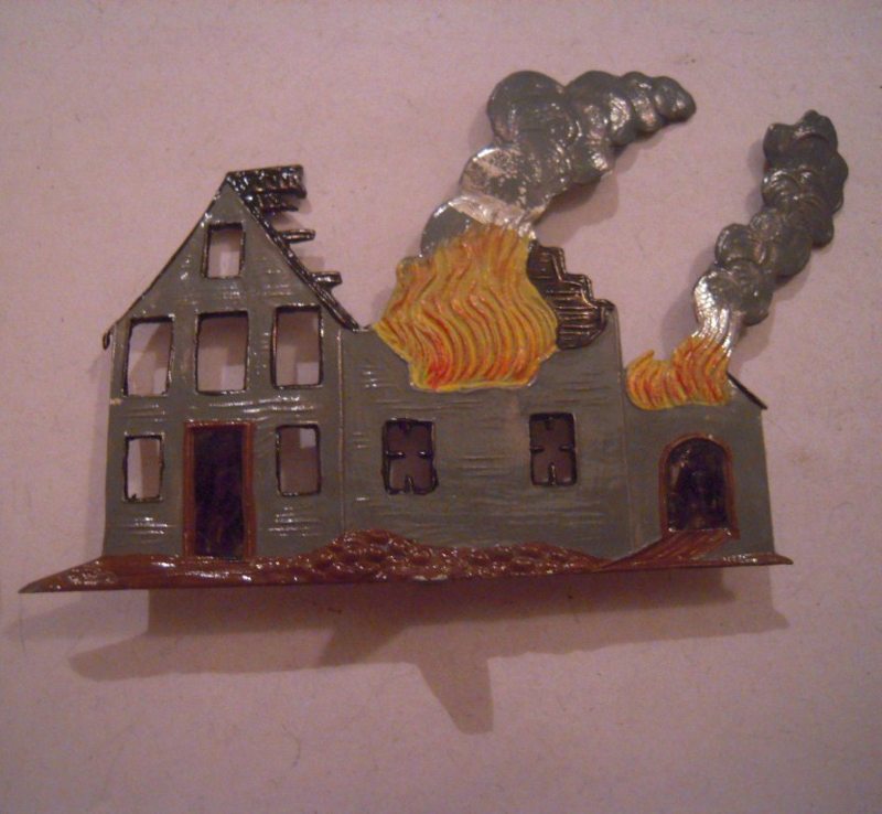 Burning house , 115x69mm one sided engraving , 1x flat 30mm scale (15679)
