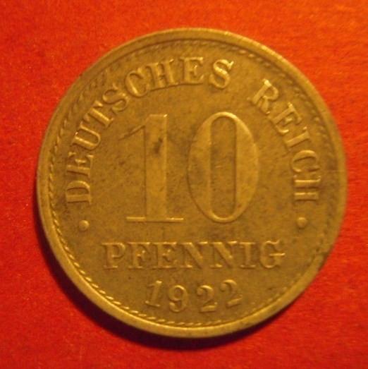 1922 German 10 Pfennig  Germany Km#26 World Coins.