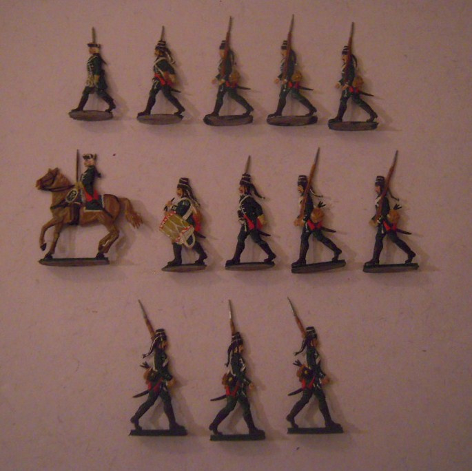 1814  Prussian hussars on foot , 13x flat 30mm scale. Grünewald (15555)