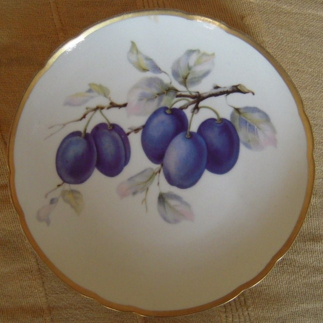1920/30's Hand painted fruit plate , plums on branch. Hutschenreuther Hohenberg Bayern. 20cm gilded edge, marked 15649 13 (12245)