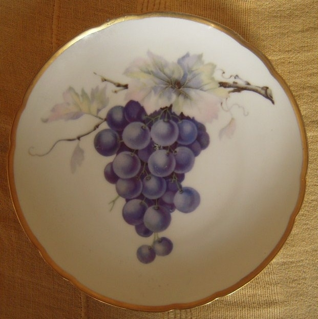 1920/30's Hand painted fruit plate , grapes on branch. Hutschenreuther Hohenberg Bayern. 20cm gilded edge, marked 15649 67 (12246)