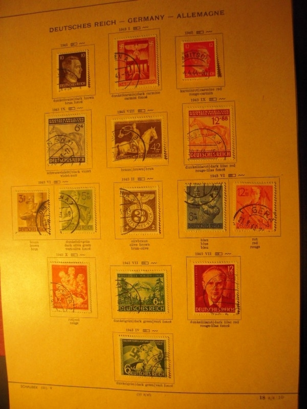 1942-43  , 14x German stamps of the Third Reich during WWII.       (8355)