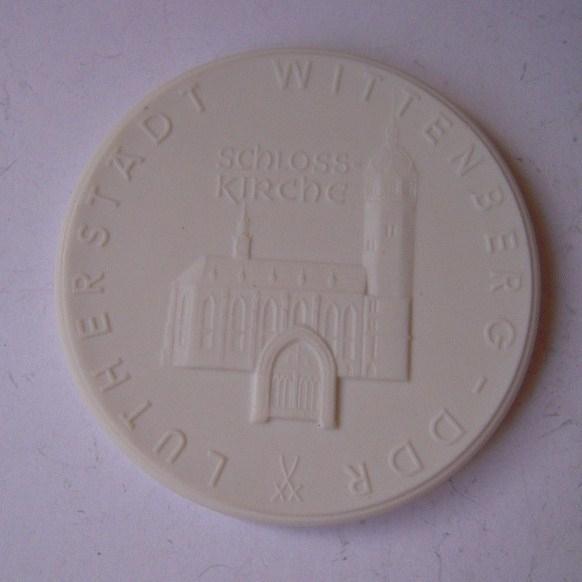 1967 Wittenberg , 450 yrs Reformation - Martin Luther town - castle church. Meissen Porcelain 63mm W4466.2 - III (14476)