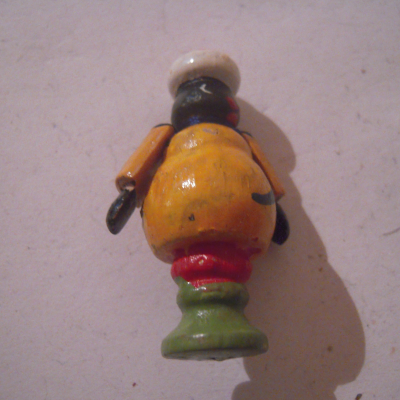 1940-12-14/15 German WHW donation gift. Kasperle figure moveable arms - Moor. Wooden colorful hand painted 44mm T330 (16189)