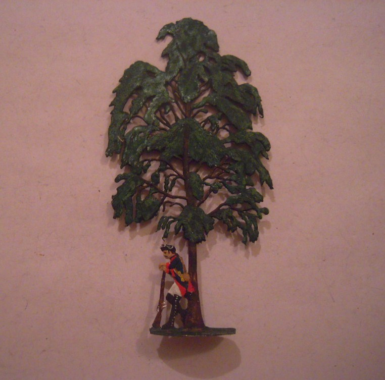 1760 Tree with resting Prussian soldier 65x127mm , 1x flat 30mm scale. Herbu (15681)