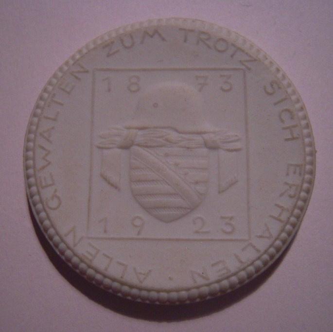 1923 Dresden , 50 years Saxon Militairy Union. Probe !!! Meissen Porcelain 40mm Sch1315n - RR !!! (14898)