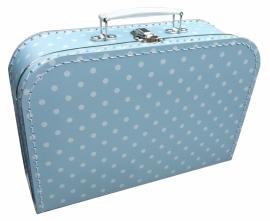 Koffertje lichtblauw met witte stip 30 cm