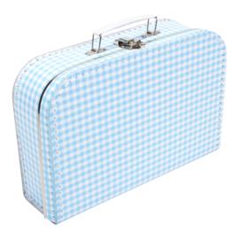 Suitcase SOFT BLUE / WHITE SQUARES 30 cm