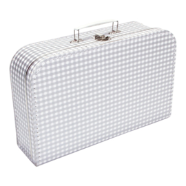 Suitcase SILVER / WHITE SQUARES 35 cm
