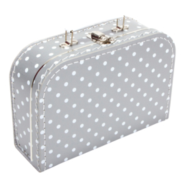 Suitcase SILVER / WHITE DOTS 25 cm