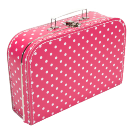 Koffertje FUCHSIAROZE / WIT STIP 30 cm