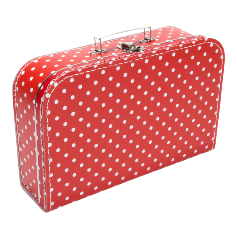 Suitcase RED / WHITE DOTS 35 cm