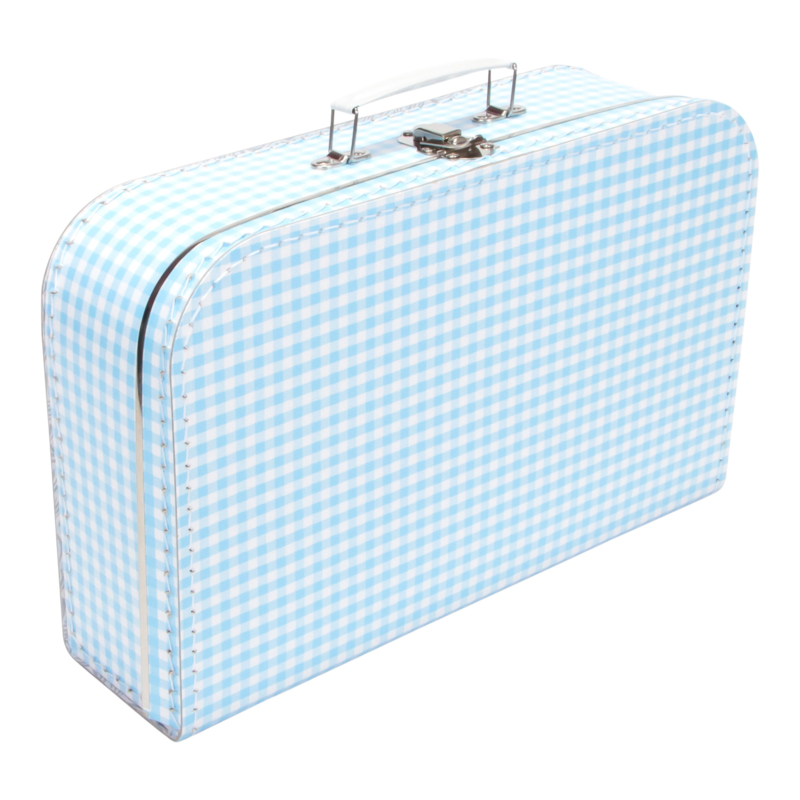 Suitcase SOFT BLUE / WHITE SQUARES 35 cm
