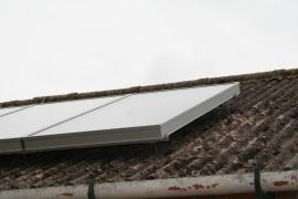 zonneboilerset, 4 panelen, op het dak