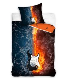 Dekbedovertrek Electric Guitar (blue/orange) 140x200