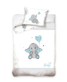 Baby Dekbedovertrek Elephant (grey/blue) 100x135