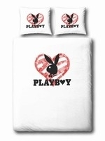 Playboy Dekbedovertrek Glitterheart (white) 140x200/220