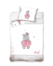 Baby Dekbedovertrek Hippo (grey/pink) 100x135