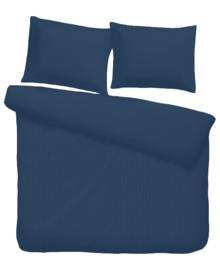 iSleep Dekbedovertrek Satijnstreep (donker blauw) 240x200/220
