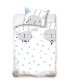 Baby Dekbedovertrek Bunnies & Dots (grey/blue) 100x135