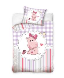 Baby Dekbedovertrek Girl Hippo (multi/purple) 100x135