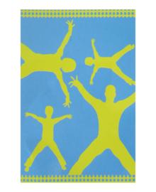 XXL Strandlaken Happy Family (blauw/geel) 150x200