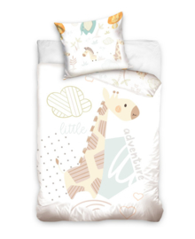 Baby Dekbedovertrek Little Adventure (white/pastel) 100x135