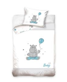 Baby Dekbedovertrek Hippo (blue) 100x135