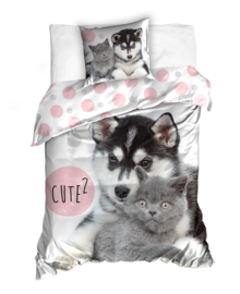 Dekbedovertrek Cute2 (grey/pink) 140x200