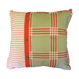 Marieke at Home Sierkussen Natural Check (red) 45x45