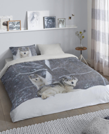 Good Morning Flanellen Dekbedovertrek Two Wolves (grey) 240x200/220