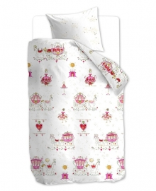Beddinghouse Dekbedovertrek Princess Carriages (pink) 140x200/220